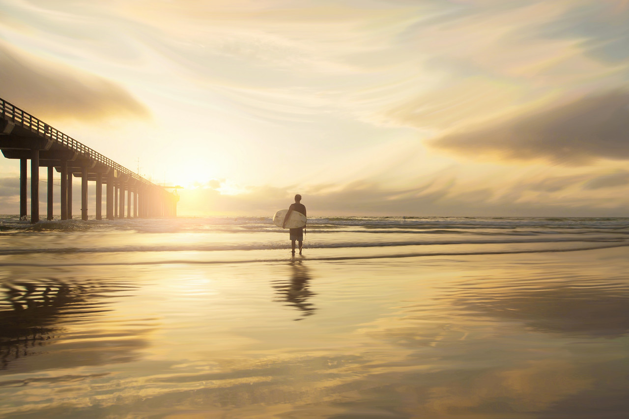 Lone surfer at Scripps