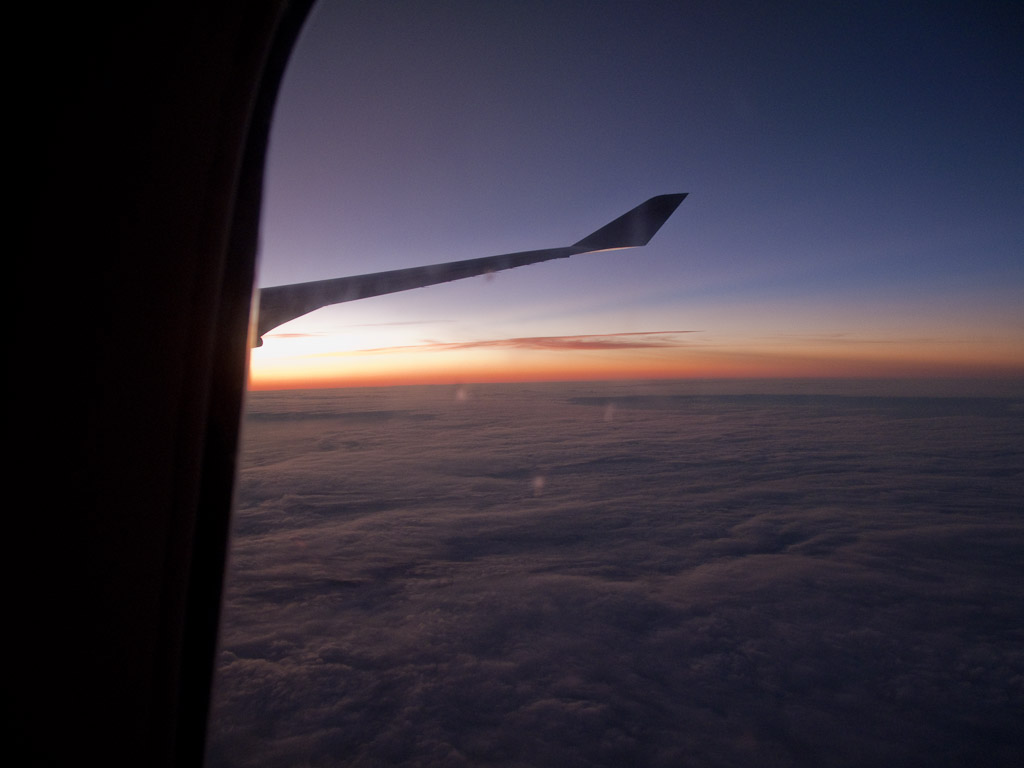 Technically NOT San Francisco - this is the sunrise on the plane somewhere over the pacific!
