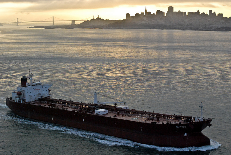 """<span id=""""title"""">Ship</span> One neat thing about huge bridges is being able to see giant ships pass below you."""