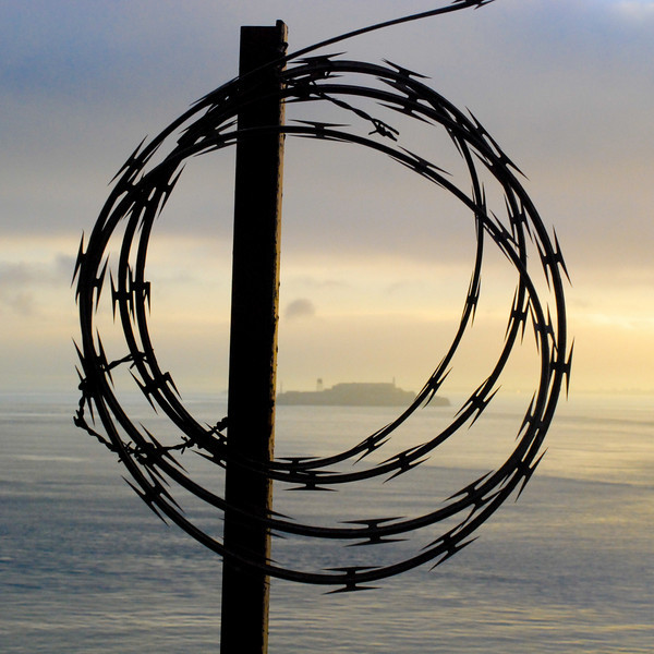 """<span id=""""title"""">Barbed</span> That's Alcatraz in the background.  See what I did there? I surrounded the island with razor wire, just like the jail itself is surrounded with wire. Clever, eh? I know, I'm a genius."""