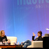 """<span id=""""title"""">BT</span> BT and a guy from Berklee College of Music chat on stage. Later, BT demoed his iPhone app using the projector on the right."""