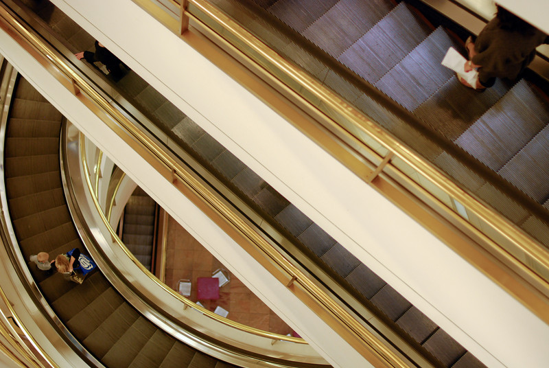 """<span id=""""title"""">Escalator Madness</span> The Westfield mall on Market St. has these crazy curved escalators that are well worth checking out. They're near the Nordstroms."""