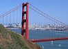 The Golden Gate Bridge and San Francisco, as seen from an overlook just over the bridge. (5x7)