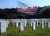 Golden Gate National Cemetery. The 'super-imposed' flag flies on a hill (shown in another picture) overlooking the grounds. (5x7)
