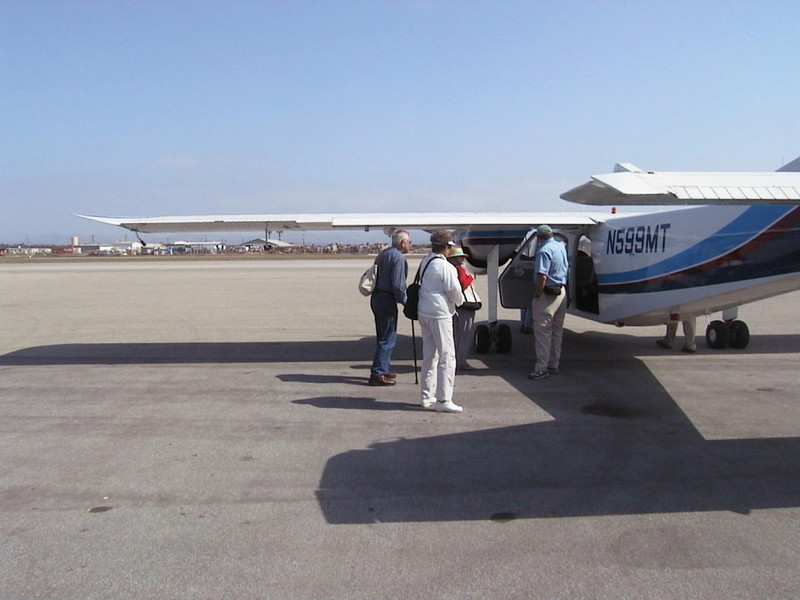 We flew in a small plane from the Venture, CA airport to a field on Santa Cruz island.