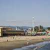 "Santa Cruz' famous Beach Boardwalk with the ""Giant Dipper"" roller-coaster."