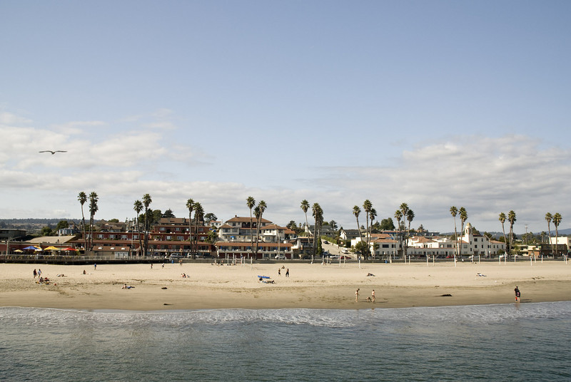 Santa Cruz beach and Boardwalk, as seen from a nearby pier.