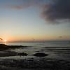 Sonnenuntergang am Pazifik: Nahe der kalifornischen Stadt Half Moon Bay fliegen Pelikane ueber den Strand.