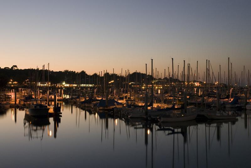 Monterey's marina shortly before sunset.