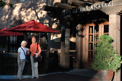 Lyn and Susan in front of our hotel, the Inn of the Anasazi. Very deluxe!   Santa Fe, New Mexico: our September 2010 trip.