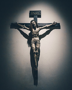 A crucifix at the Cathedral Basilica of St. Francis of Assisi in Santa Fe, New Mexico
