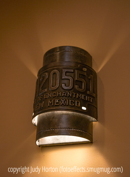 Light fixture in a restaurant in downtown Santa Fe.