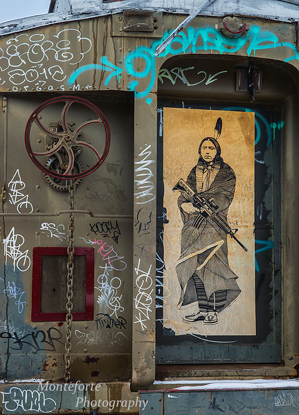 Graffitti on train car Santa Fe NM