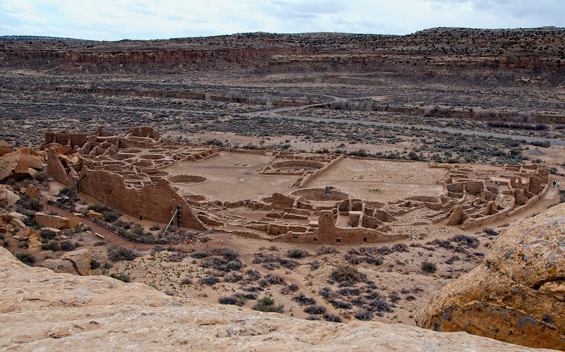 Pueblo Bonito from the overlook on trail, Chaco