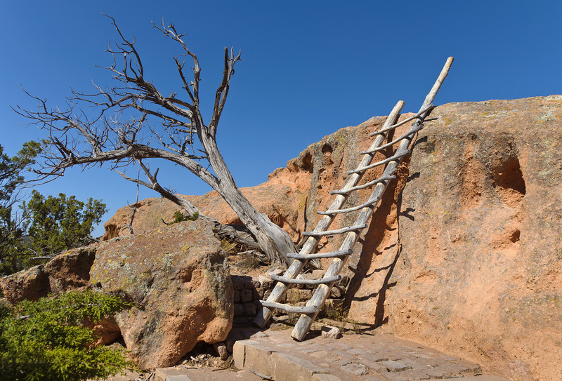 First of several ladders, Tsankawi Trail, Bandelier National Park