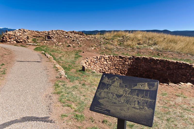 Kiva and pueblo, Pecos Pueblo National Historical Park