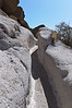 Trail worn into soft rock, Tsankawi Trail, Bandelier National Park