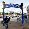 Exit sign at the Santa Monica Pier in California.