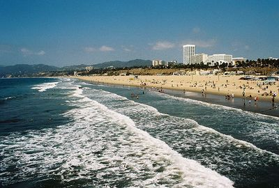 10/10/04 View of Santa Monica Beach from the Santa Monica Pier. Los Angeles County, CA