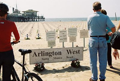 10/10/04 Arlington West. In commemoration of U.S. soldiers who died in Iraq. Just off Santa Monica Pier. Los Angeles County, CA