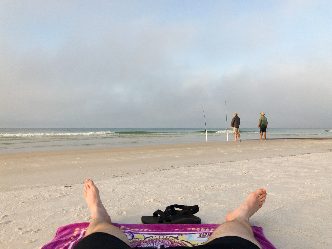 Early morning ROMWOD (stretching) on the Beach