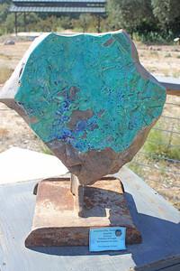 7/24/11 Chrysocolla, Malachite & Azurite from Arizona, on reclaimed iron base (Tina Clippinger Designs). Visitor Center.