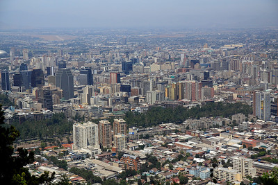 view of Santiago, Chile from San Cristobal hill
