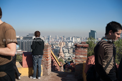 Street scenes and buildings.Santiago de Chile. Views from Cerro Santa Lucia. Model release; no