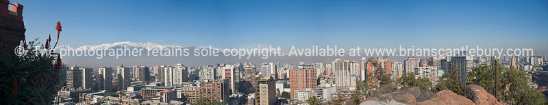 Santiago skyline, panorama from Hildago fortress on Cerro Santa Lucia. Chile, South America. Due toe aspectratio of this picture, only cropped prints can be purchesed here. A download will provide you with the image to have printed elsewhere. Apologies.