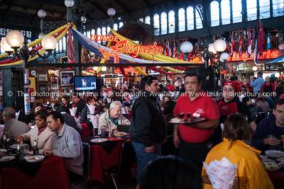Restaurant donde Augusto in the Mercado Central de Santiago, is the central market of Santiago de Chile. It was opened in 1872