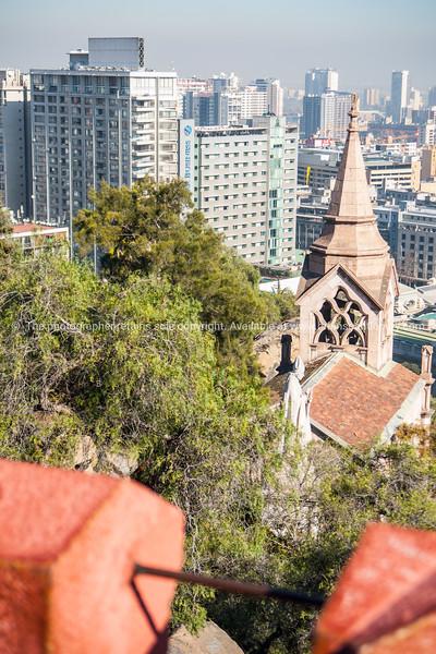 Street scenes and buildings.Santiago de Chile.<br /> Views from Cerro Santa Lucia.