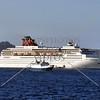Cruise ship anchored off the island of Santorini, Greece.