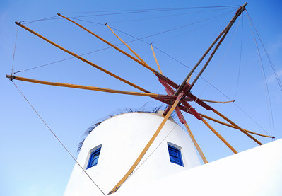 A windmill on the west side of Oia