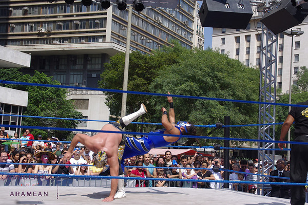 Mexican wrestling on the streets of Sao Paulo