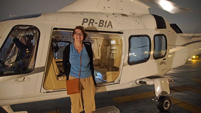 This is a bit out of chronological order.... we went to Sao Paulo before Rio.  Here, we've just landed at the Sao Paulo airport and are boarding a helicopter headed for a helipad on the roof of 3G's headquarters building.