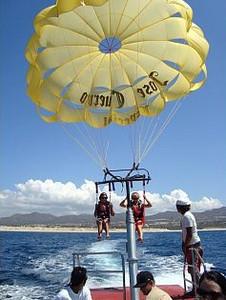 Sarah and Kelsie parasailing