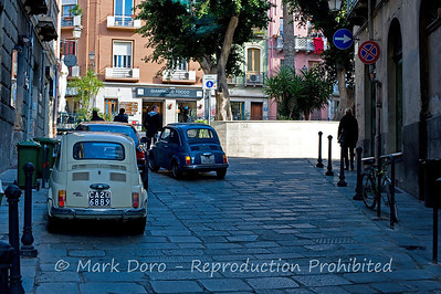 Fiat 500's in the old city, Cagliari, Sardinia, Italy