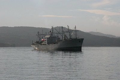 A ship anchored in Sasebo Bay