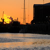 Sunrise over the Savannah River and Tugboats warm up for the days work #1