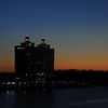 Dawn breaks on the Westin hotel, across the Savannah river in Savannah GA