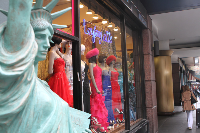 Lady Liberty guards the Lafayette window full of ladies