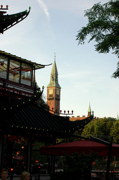 Pagoda inside the Gardens, church towers and steeples outside.