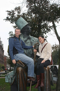 Sitting on the knees of Hans Christian Andersen in Copenhagen