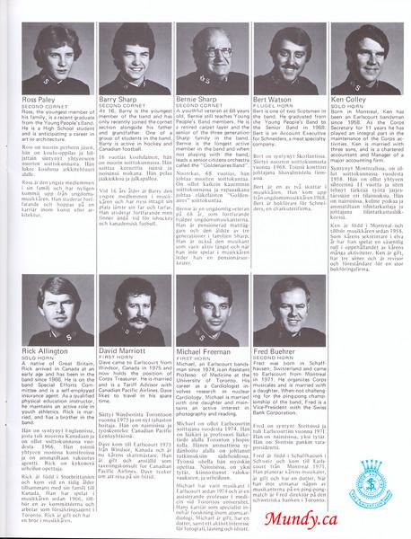 Ross Paley, Barry Sharp, Bernie Sharp, Bert Watson, Ken Colley.<br /> <br /> Rick Allington, David Marriott, Mike Freeman, Fred Buehrer.