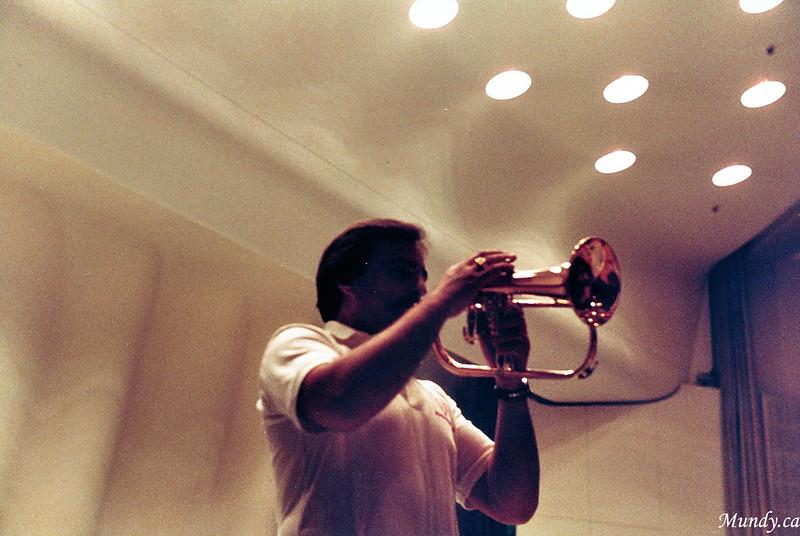Bob Skinner rehearsing.