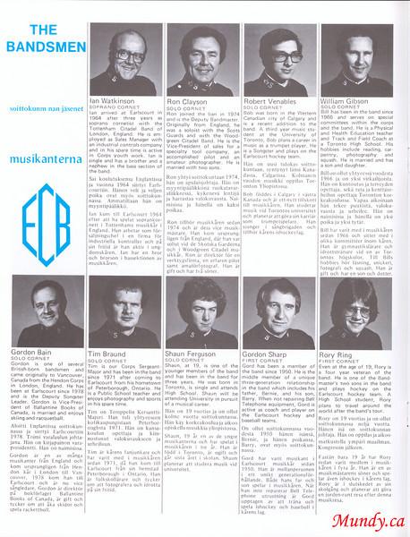 Ian Watkinson, Ron Clayson, Bob Venables, Bill Gibson.<br /> <br /> Gordon Bain, Tim Braund, Shawn Ferguson, Gordon Sharp, Rory Ring.
