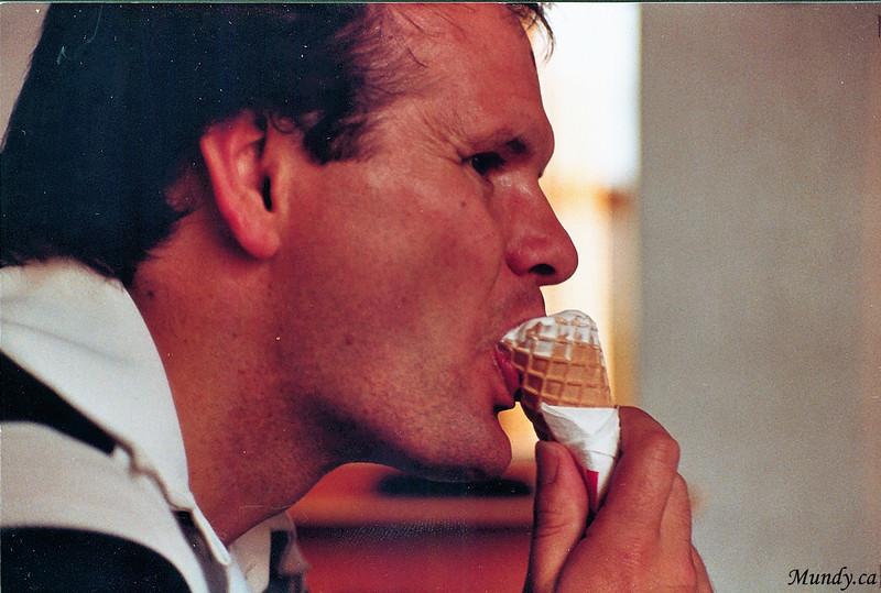 Tim enjoying some ice cream ...