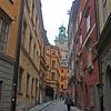 Carol walking in Gamla Stan in Stockholm