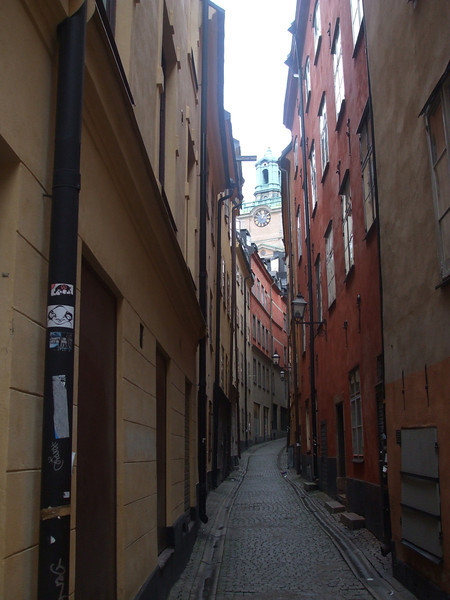 Narrow cobblestone street in Gamla Stan