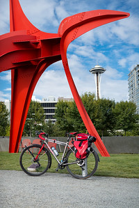 """20160807.  Scarlet Seven and """"Eagle"""" sculpture by Alexander Calder in Olympic Sculpture Park, Seattle WA."""